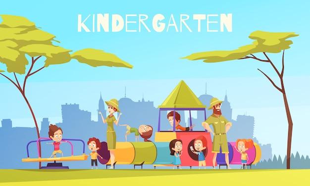 Kindergarten playing ground composition Free Vector