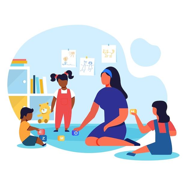 Kindergarten, playschool flat vector illustration Premium Vector