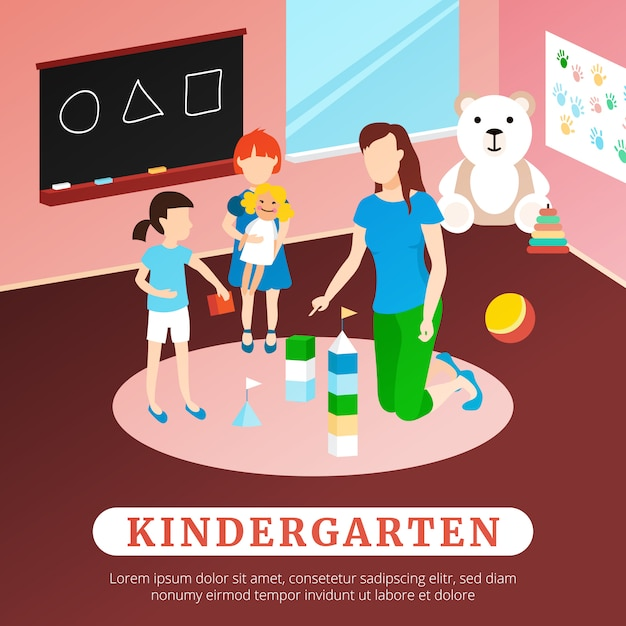Kindergarten poster illustration Free Vector