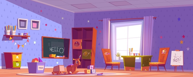 Kindergarten room, daycare center with toys, chalkboard, table and chairs for kids Free Vector