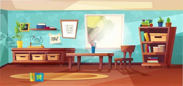 Иллюстрация комнаты детского сада современная с мебелью, солнечным светом от окна и игрушками для детей. детская для детей, маленьких детей. плоский стиль дизайна. дошкольный. Premium векторы