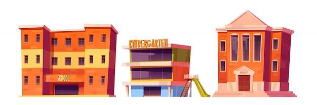 幼稚園、学校、大学の建物セット 無料ベクター