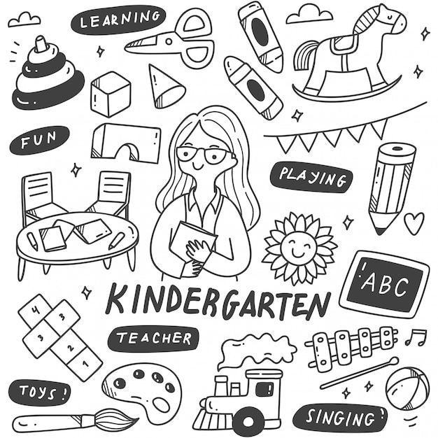Kindergarten teacher and toys in doodle illustration Premium Vector