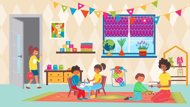 Kindergarten teacher with girl boy kid play in room Premium Vector