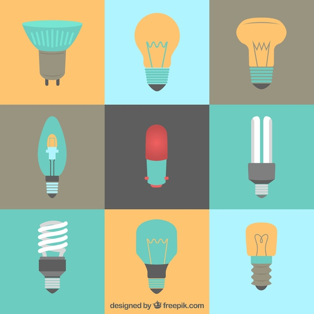 Kinds of lightbulbs in flat style Free Vector