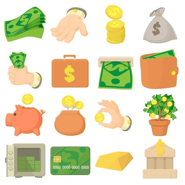 Kinds of money icons set Premium Vector