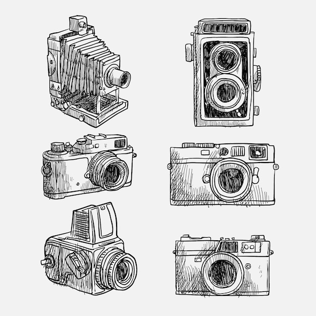 Kinds of hand drawn vintage cameras Free Vector