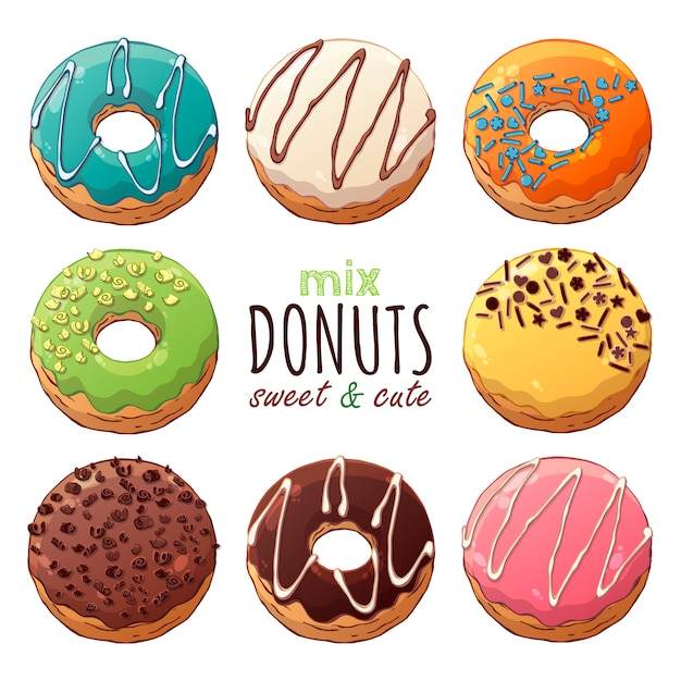 Kinds of vector donuts decorated with toppings Premium Vector