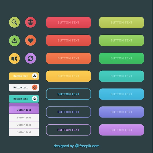 Kinds of web buttons in colors Free Vector