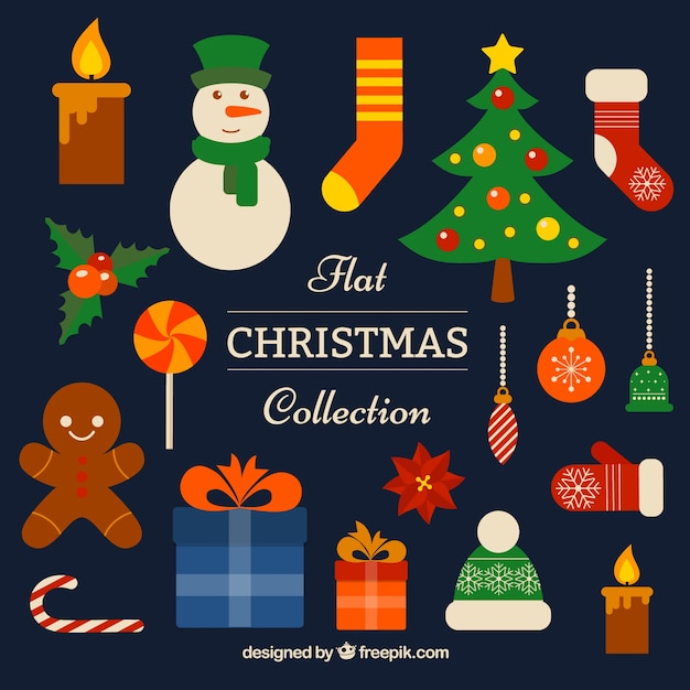 Kinf Of Decorative Christmas Elements Vector Free Download