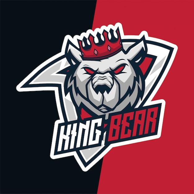 King bear ultimate e-sport mascot logo Premium Vector
