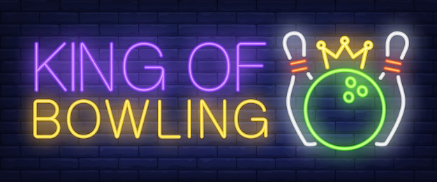 King of bowling neon text, skittles and ball with crown Free Vector