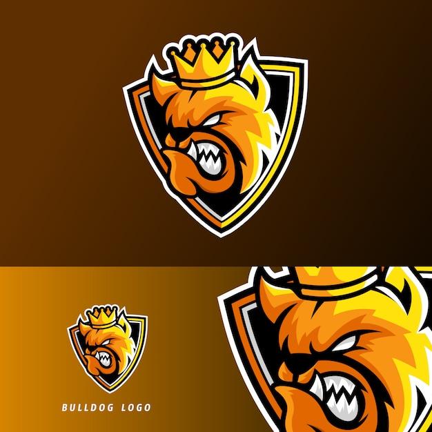 Шаблон логотипа талисмана игрового кибер-собаки king bulldog Premium векторы
