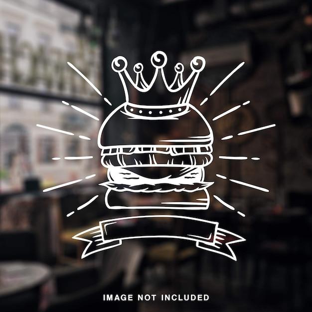 Кинг бургер гриль винтаж иллюстрация белая линия Premium векторы