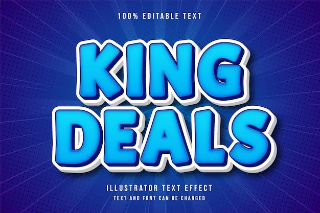 Король сделок, 3d редактируемый текстовый эффект синий современный стиль комиксов Premium векторы