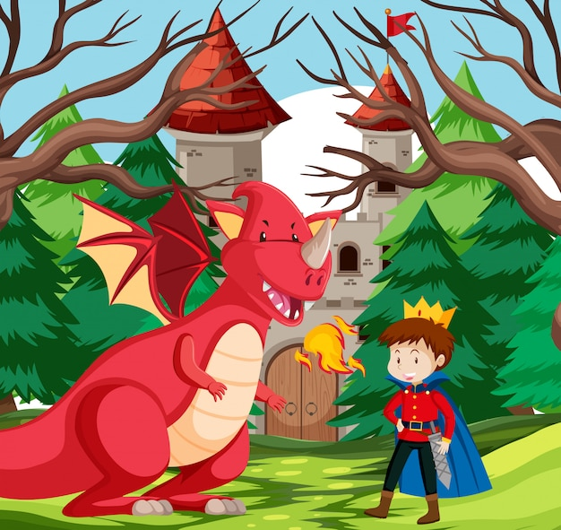 A king and dragon at castle Premium Vector