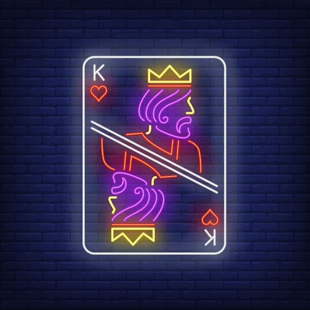 King of hearts playing card neon sign. Free Vector
