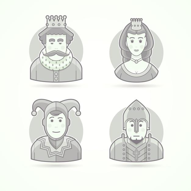 王冠、王室の人、女王、王女、法廷のジェクター、騎士の戦士。キャラクター、アバター、人のイラストのセットです。黒と白のアウトラインスタイル。 Premiumベクター