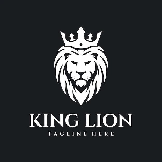 King lion logo Premium Vector