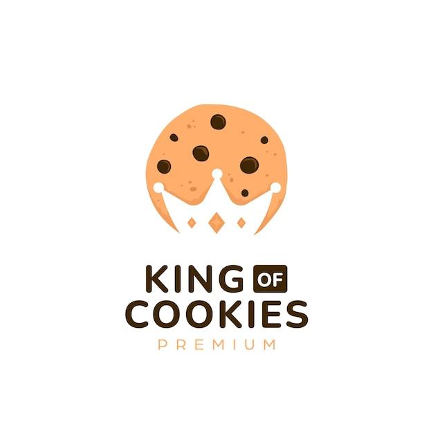 Логотип печенья короля величества с силуэтом короны с вырезом внутри символа символа значка печенья Premium векторы