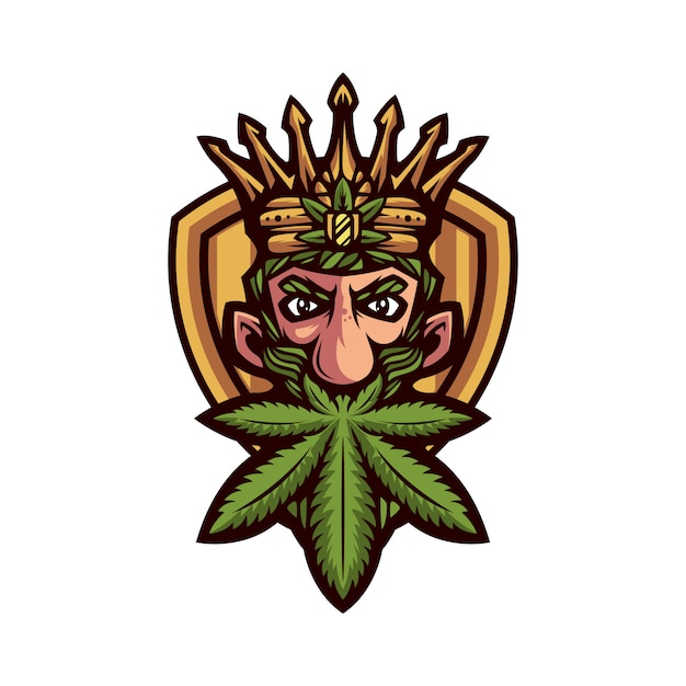 King marijuana mascot Premium Vector