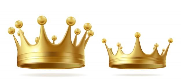 왕 또는 왕비 황금 왕관 무료 벡터