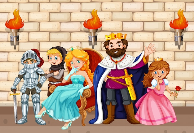 King and other fairytale characters Free Vector