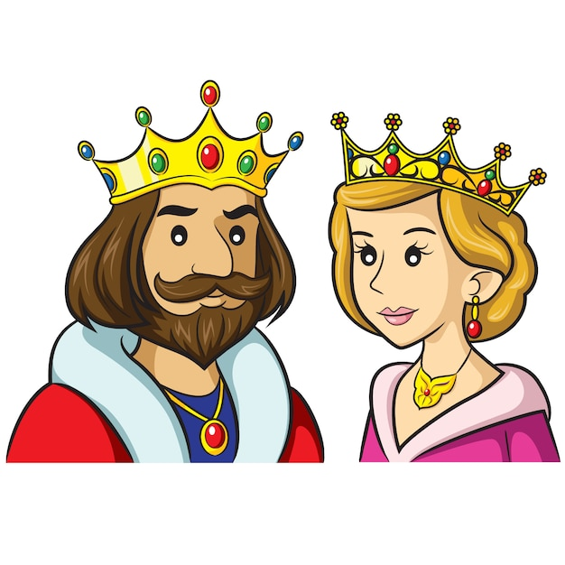 King queen cartoon Premium Vector