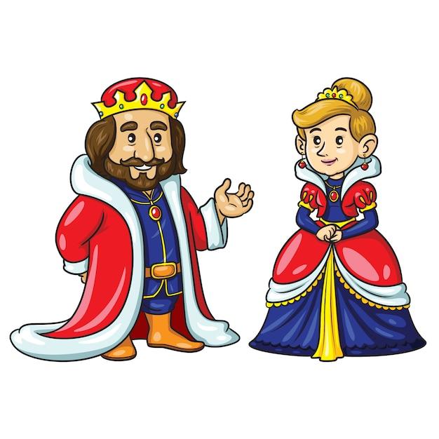 King queen cute cartoon Premium Vector