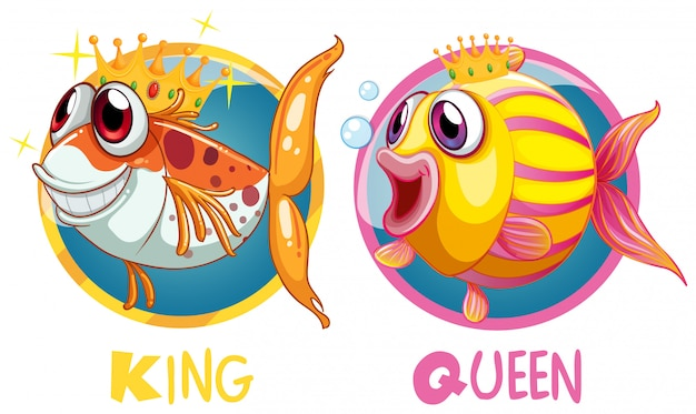 King and queen fish on round badge Free Vector