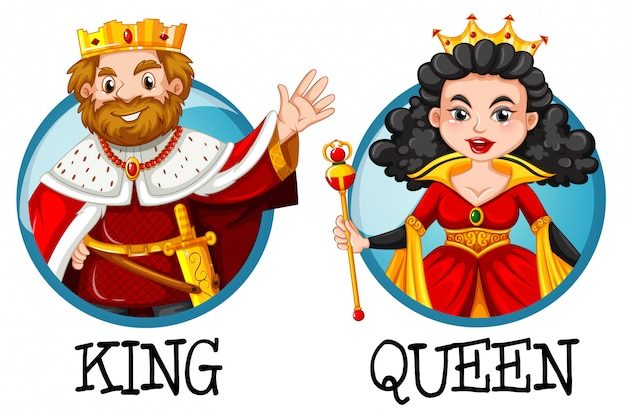 King and queen on round badges Free Vector