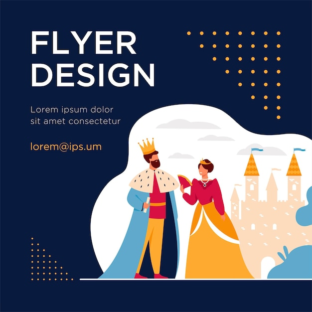 King and queen standing in front of castle flat flyer template Free Vector