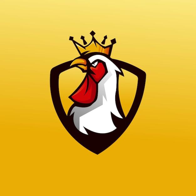 배지에 대 한 현대적인 일러스트 컨셉 스타일으로 킹 닭 마스코트 로고 디자인 벡터 프리미엄 벡터
