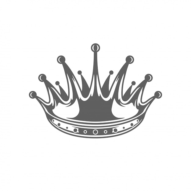 King royal crown ilhouette isolated on white background. Premium Vector
