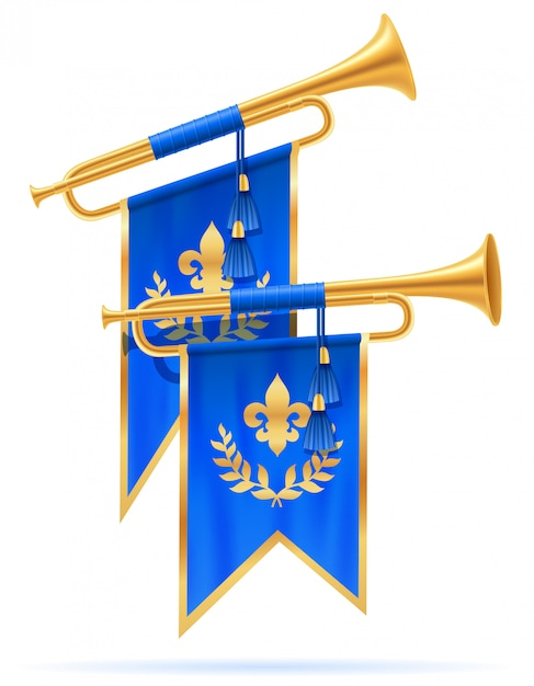 King royal golden horn trumpet. Premium Vector