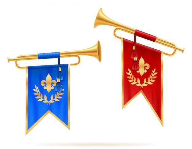 King royal golden horn trumpet. Premium Vector