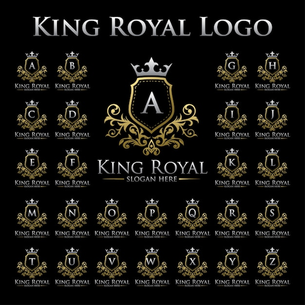 King royal logo with alphabet set Premium Vector