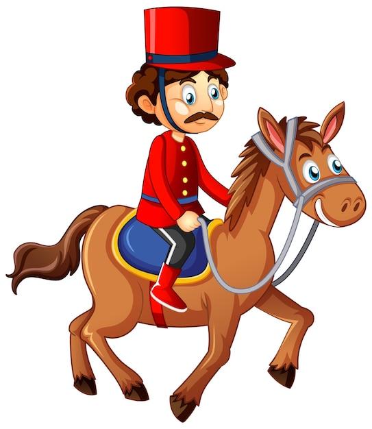 Personaggio dei cartoni animati di king's man riding horse Vettore gratuito
