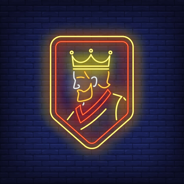 King on shield neon sign. Free Vector
