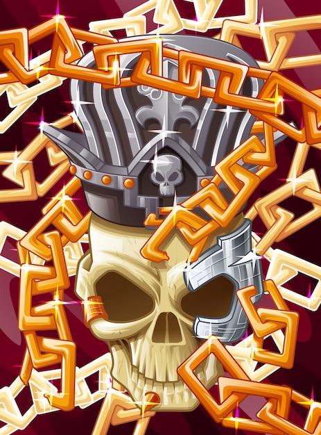 王様の頭蓋骨と鎖。 Premiumベクター