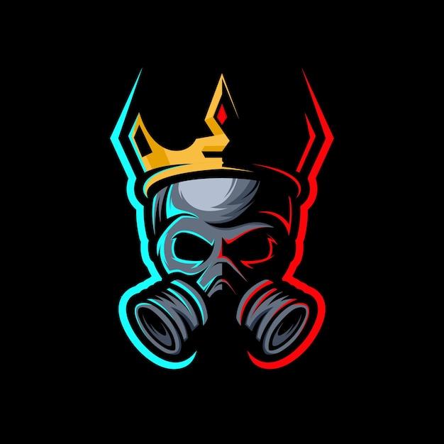 王冠が付いたキングスカル、ロゴゲームマスコットeスポーツ。 Premiumベクター