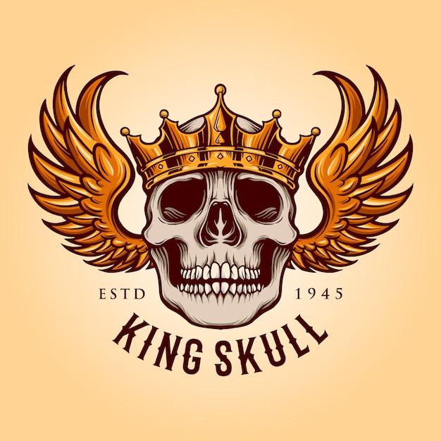 飛行ロゴのマスコットイラストとキングスカル Premiumベクター