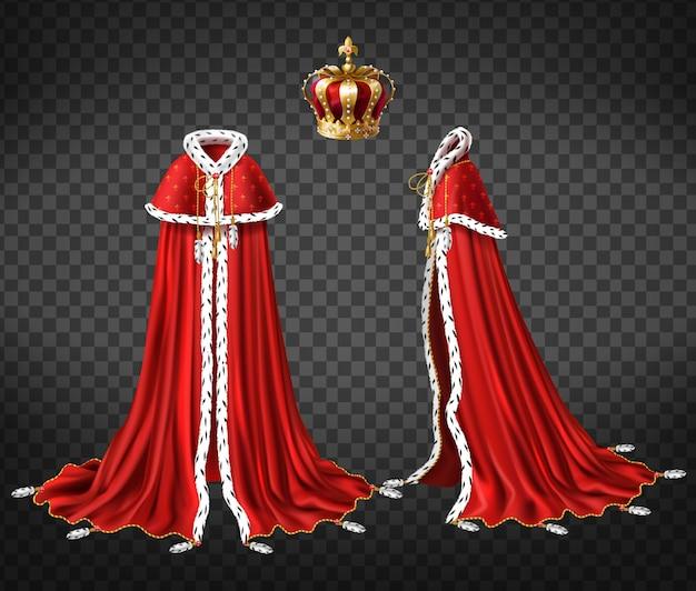 Королевская мантия королей с плащом и накидкой Бесплатные векторы
