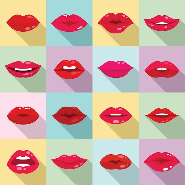 Kiss icons set, flat style Premium Vector