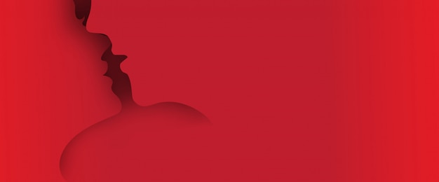 Kissing couple paper art 3d layer pop up from background with space for text Premium Vector