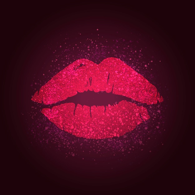 Kissing lips badge Free Vector