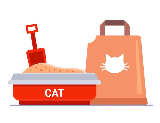 Kit for cat litter. bag with filler for the tray. Premium Vector