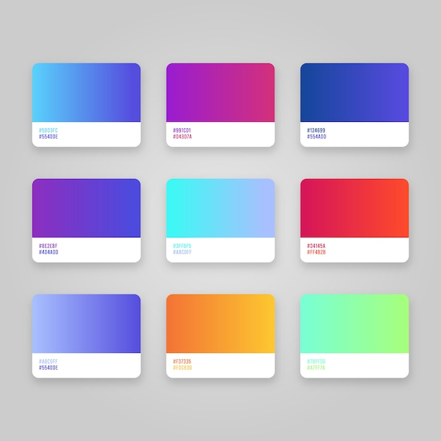 Kit of gradients colors Free Vector