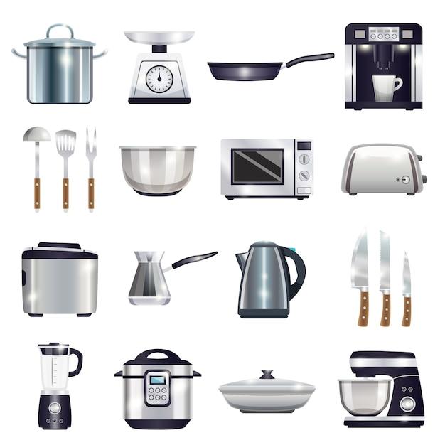Kitchen accessories set Free Vector