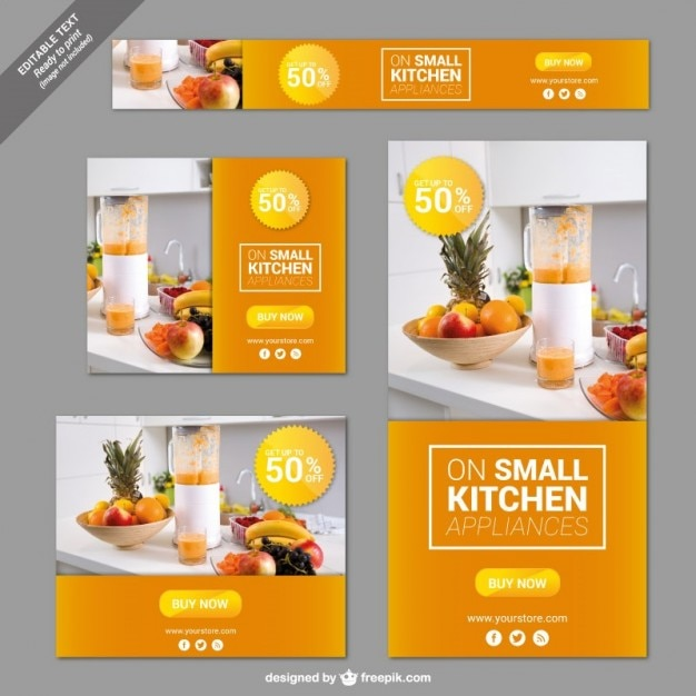 Kitchen Appliances Banners Vector Free Download